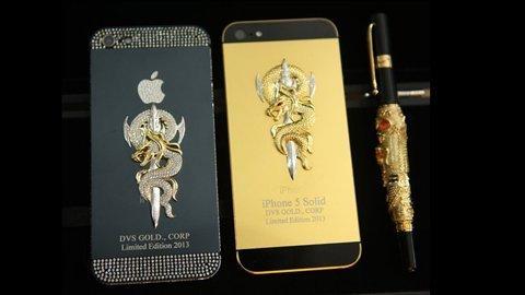 iPhone 5 mạ vàng, đúc rắn hổ chúa giá khủng