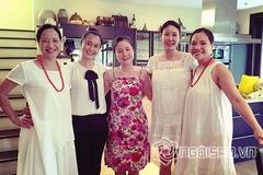 Hà Kiều Anh 'bế' bụng bầu tụ họp với chị em Lê Khanh