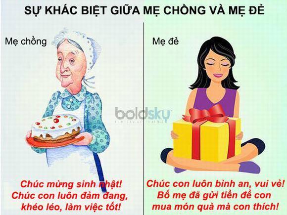 Bộ ảnh hài hước về sự khác biệt giữa mẹ chồng và mẹ đẻ