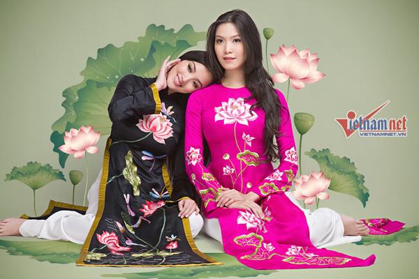 Thùy Dung, Huỳnh Bích Phương đẹp dịu dàng với áo dài sen