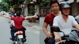 Quang Lê bị chỉ trích vì ngồi xe máy không nón bảo hiểm