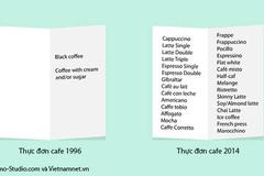 Cười nghiêng ngả với thực đơn cafe năm 1996 và 2014
