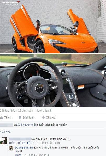 Thiếu gia Dương Kon mua siêu xe McLaren 650S đầu tiên ở Việt Nam?