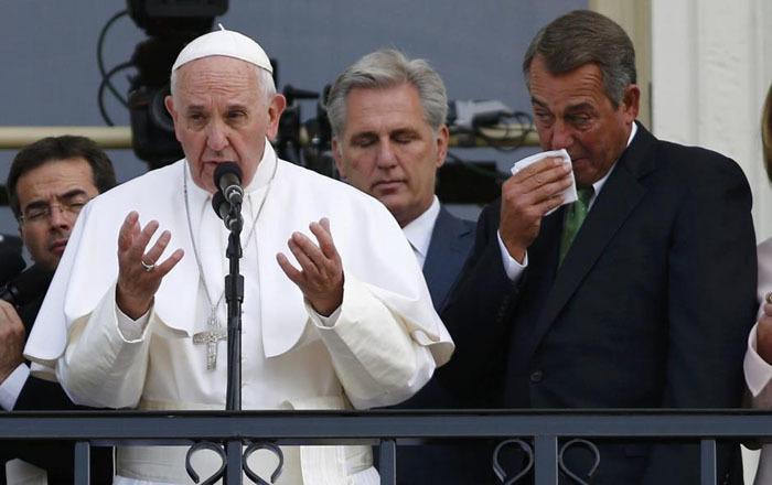 Nước mắt rơi trong diễn văn của Đức Giáo Hoàng tại Quốc Hội Mỹ .