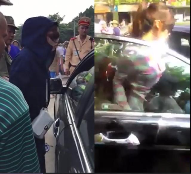 Hà Nội: Một phụ nữ trèo lên nóc ô tô đánh ghen giữa phố