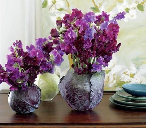 Cắm hoa vào bắp cải: sang nhà mà độc đáo