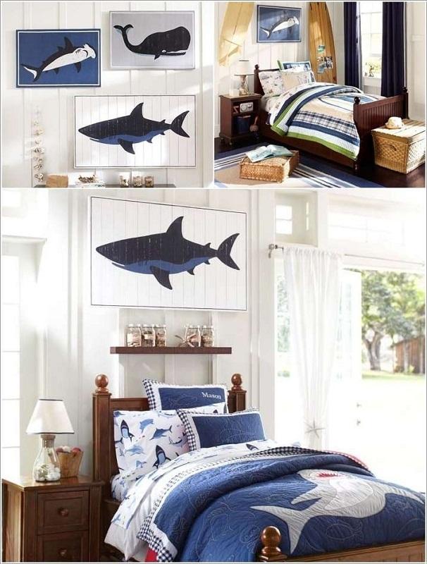 Phòng bé mát lành với tường trang trí theo phong cách biển
