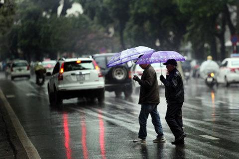 Không khí lạnh tăng cường, Hà Nội mưa rào
