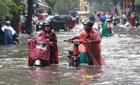 Mưa lớn, người Sài Gòn 'bơi' về nhà