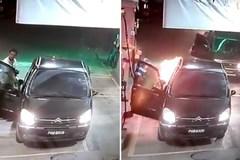 Ôtô bốc cháy tại trạm xăng vì tài xế quên tắt máy