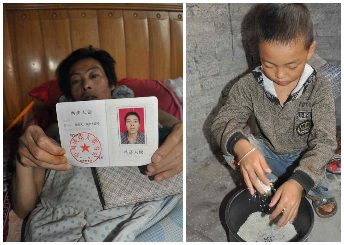 hiếu thảo, cha, con, bé trai, chăm sóc, bại liệt, Trung Quốc