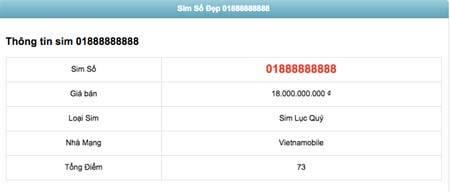 Rao bán sim 01888888888 giá 18 tỷ đồng