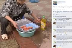 Xúc xích mốc meo rửa bằng nước rửa bát gây hoang mang