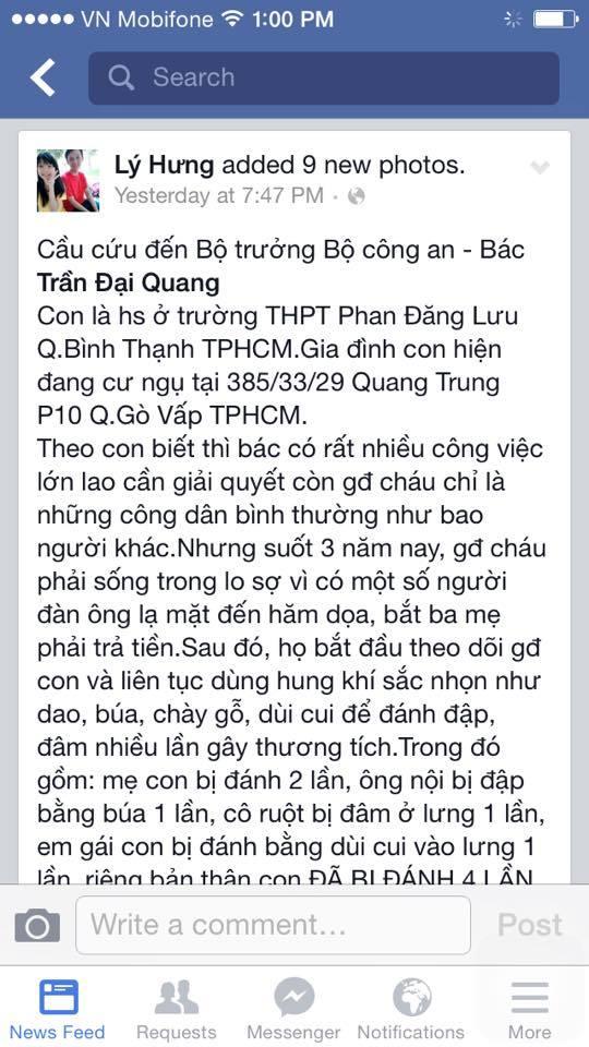 Tình tiết mới vụ cầu cứu Bộ trưởng Công an qua facebook