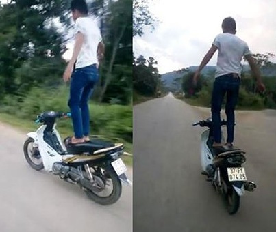 Thanh niên đứng trên yên xe Exciter phóng như bay