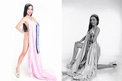 Hình ảnh khoe thân phản cảm của Hoa hậu quỳ lạy mẹ bên thùng rác