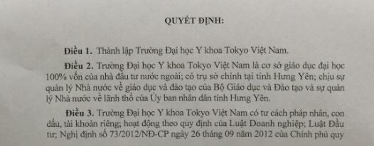 Thành lập Trường ĐH Y khoa Tokyo Việt Nam