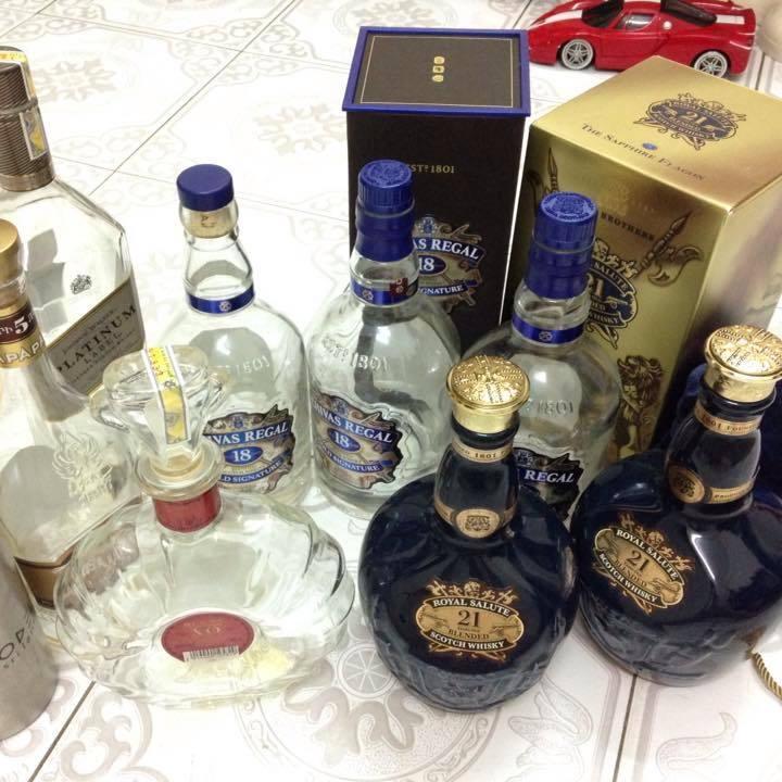 vỏ chai rượu, rượu giả, Chivas 38, Louis XIII, rượu nhập ngoại, kinh doanh rượu ngoại, rượu lậu,
