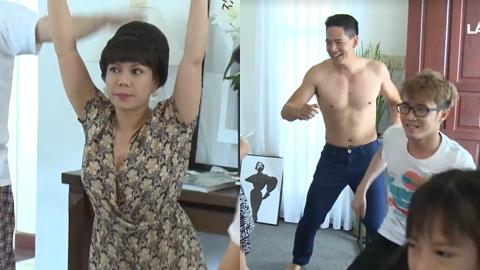 Bình Minh cời trần nhảy nhót cùng Việt Hương