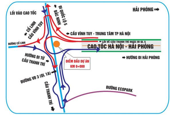 """""""Bí kíp"""" tránh lạc đường khi qua các nút giao cao tốc Hà Nội – Hải Phòng"""