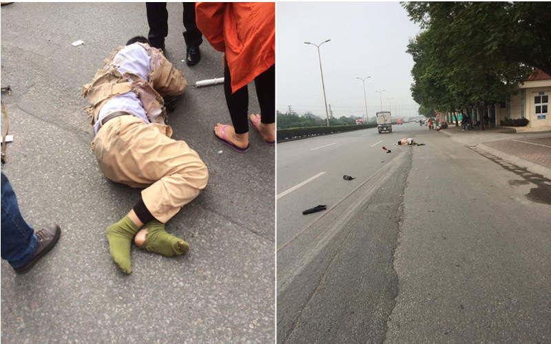 Hà Nội: CSGT bị xe tải đâm kéo lê 20m trên đường