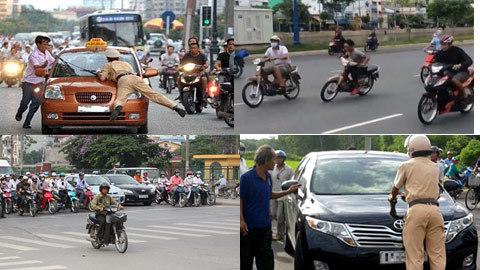Capo, cảnh sát giao thông, tai nạn giao thông, chặn đầu xe, tham gia giao thông
