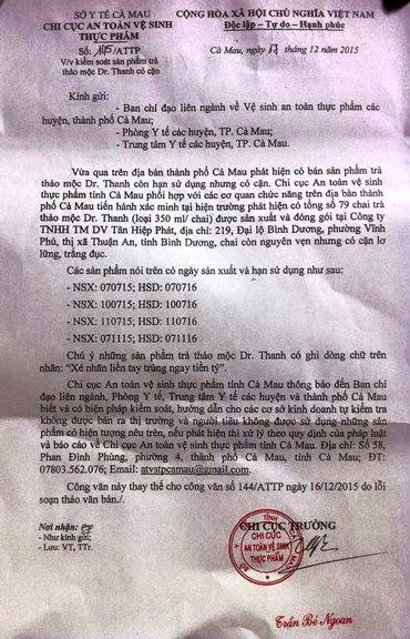Cà Mau khuyến cáo không sử dụng trà Dr. Thanh có cặn