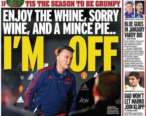 Báo chí Anh châm biếm Van Gaal, Van Gaal, M.U, Mourinho thay van Gaal, Premier League, Ngoại hạng Anh