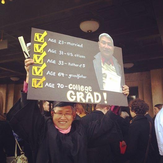Việt kiều, cụ ông tốt nghiệp đại học, ham học