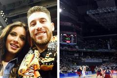 """Nhàn rỗi, Ramos rủ bồ """"giải khuây"""" trên sân bóng rổ"""