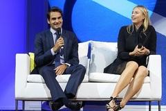 """Federer tươi rói bên """"búp bê"""" Sharapova"""