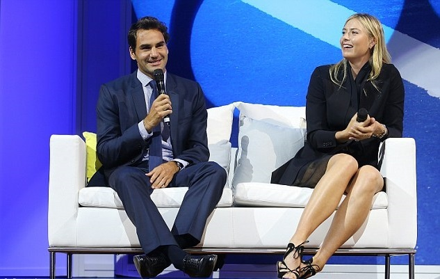 Federer tươi rói bên 'búp bê' Sharapova