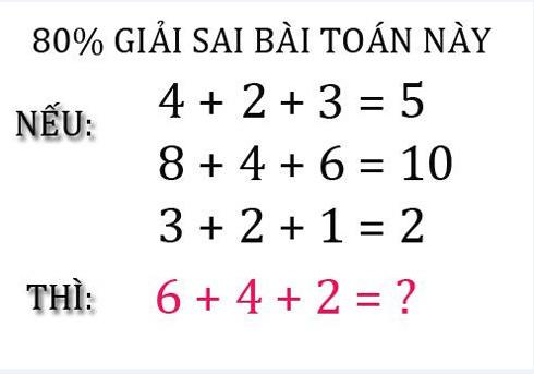 Bài toán, bài toán phép cộng, giải sai
