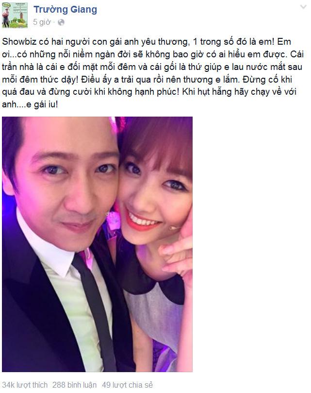 1 trong 2 người con gái Trường Giang yêu thương là Hari Won