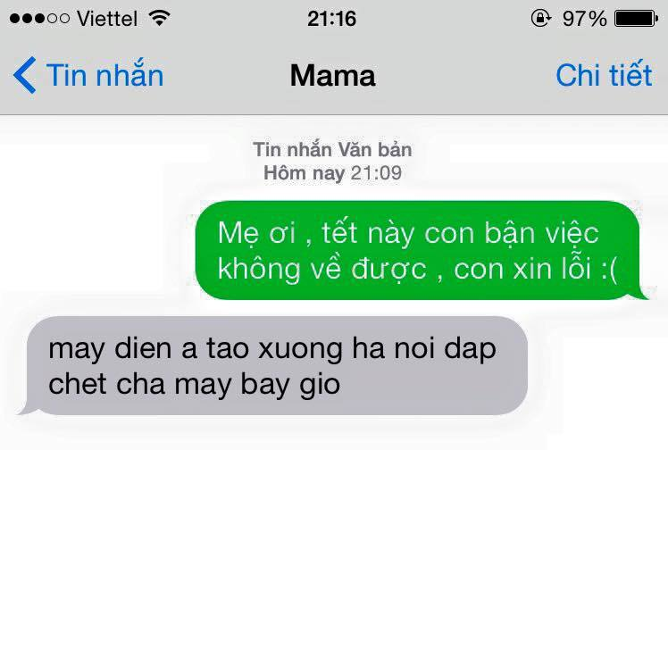 """Cười vỡ bụng với tin nhắn """"Tết này con không về"""" và phản ứng của các bà mẹ"""