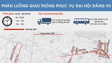 Sơ đồ phân luồng giao thông chi tiết dịp Đại hội Đảng