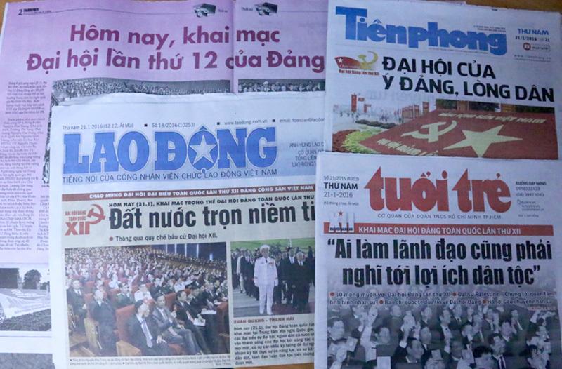 Đại hội Đảng trên trang nhất các báo