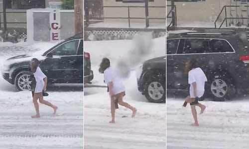 không mặc quần chạy trong bão tuyết