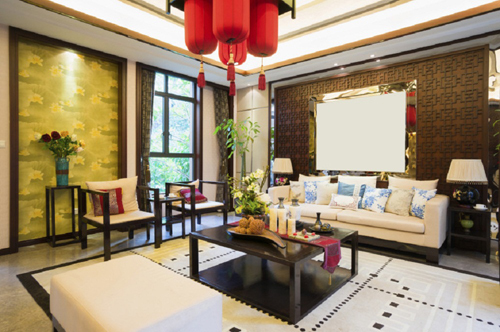 trang trí phòng khách, thiết kế phòng khách, phòng khách theo phong cách Á đông