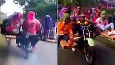 Xe máy 'lai' 9 người chạy băng băng trên phố
