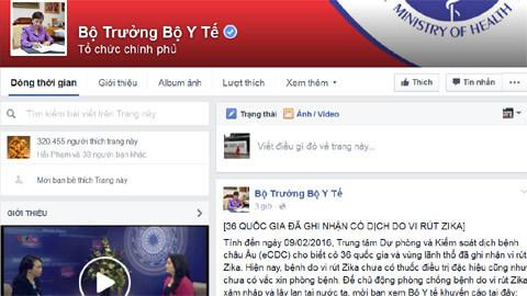 fanpage của Bộ trưởng Nguyễn Thị Kim Tiến, facebook của Bộ trưởng Nguyễn Thị Kim Tiến, Nguyễn Thị Kim Tiến, Bộ trưởng Y tế