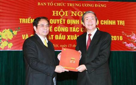 Võ Văn Thưởng,Phạm Minh Chính,Trưởng ban Tuyên giáo TƯ,Trưởng Ban Tổ chức TƯ