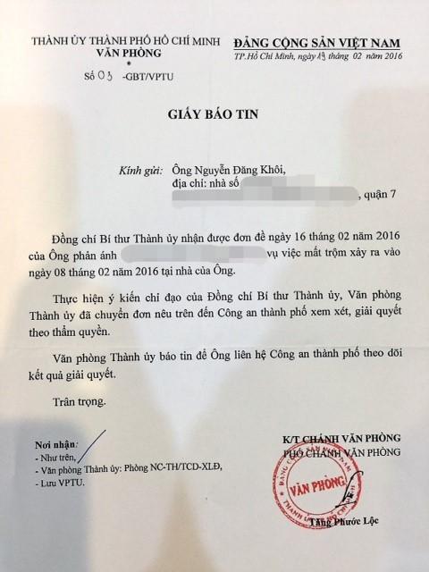 Bí thư Đinh La Thăng chỉ đạo giải quyết vụ trộm nhà Đăng Khôi