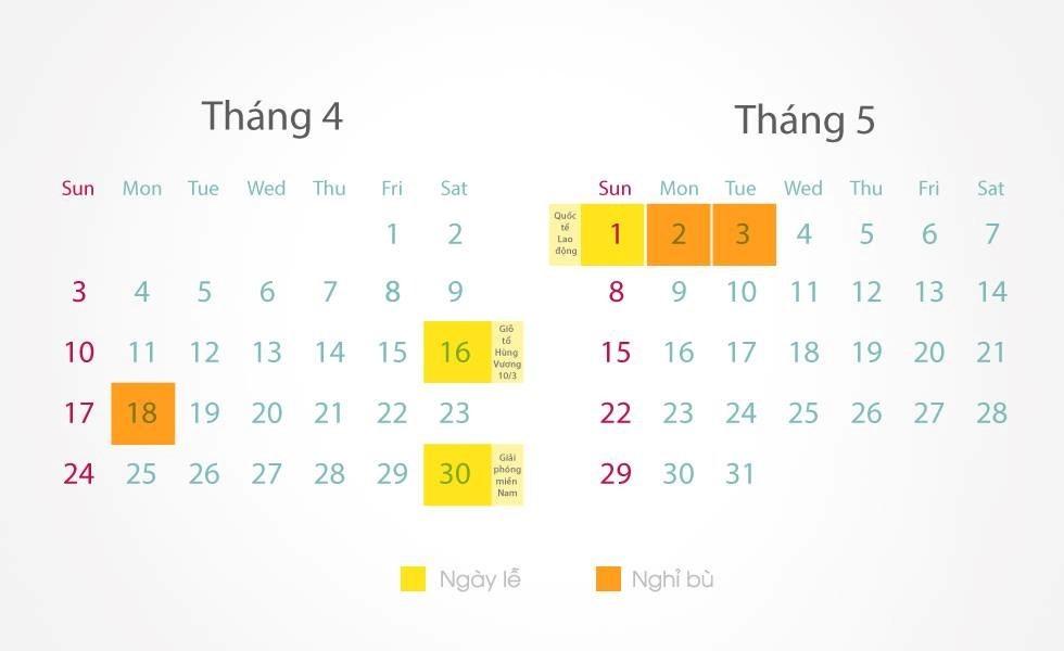 Giỗ tổ Hùng Vương nghỉ 3 ngày, 30/4 nghỉ 4 ngày