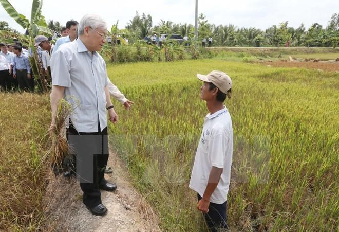 Đồng bằng sông Cửu Long bị nhiễm mặn, hạn hán, nhiễm mặn, Tổng Bí thư Nguyễn Phú Trọng, Bến Tre