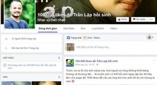 Phẫn nộ trò câu like độc ác về ca sĩ Trần Lập
