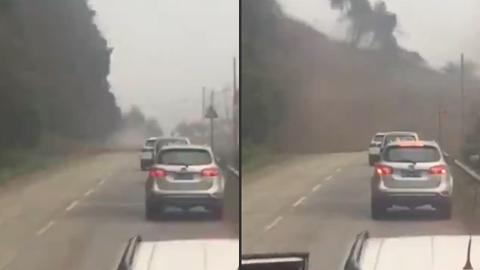 10 clip 'nóng': Cả đoàn xe suýt bị sườn núi 'chôn sống'