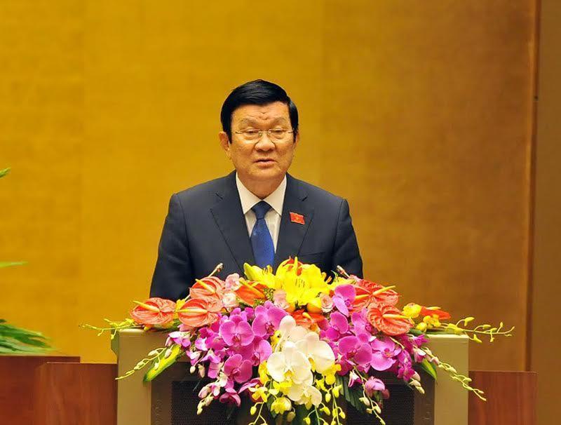 Chủ tịch nước, Trương tấn sang, báo cáo nhiệm kỳ, thăng hàm cấp tướng