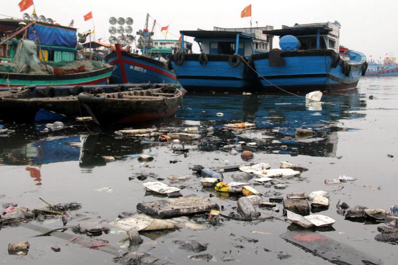Khu vực Âu thuyền và cảng cá Thọ Quang đang bị ô nhiễm nặng (ảnh: Internet)