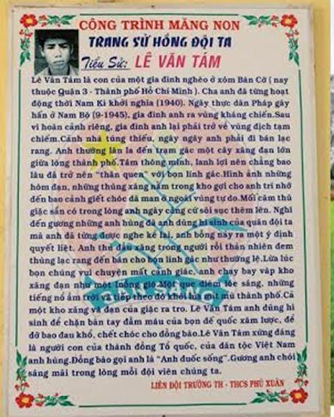 Trường học dùng ảnh tử tù làm minh họa anh hùng Lê Văn Tám